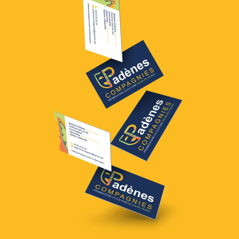 Conception d'une carte de visite pour l'association Padènes Compagnies